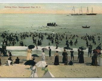 Beach Scene Narragansett Rhode Island 1910c postcard