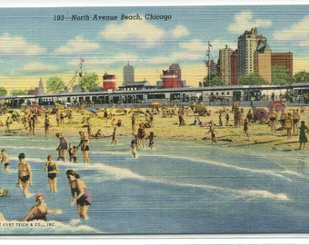 North Avenue Beach Chicago Illinois linen postcard