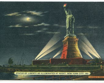 Statue of Liberty At Night New York City NYC NY 1940 postcard