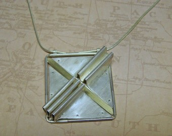 Industrial Modernist Hinged Articulated Techno Steampunk Silver necklace Pendant Jewelry