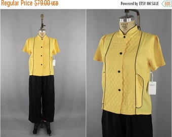 SALE - Vintage 1940s Pajamas Set / 40s PJs / Art Deco Chinoiserie Loungewear / Yellow & Black  / Downton Abbey Gatsby