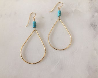 Gold Turquoise Earrings - Handmade - Teardrop Earrings