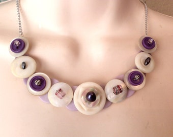 La La for Lavender button necklace