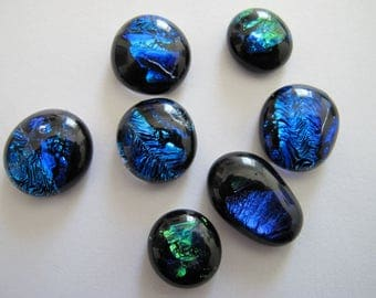 Seven Freeform Uncalibrated Dichroic Glass Cabochons