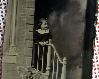 "Tintype - Girl on the Steps 3.5"" x 5"""