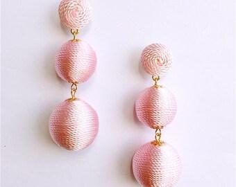 Pink Cord wrapped Les Bonbon bon bon Gum Drop Earrings