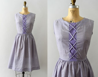 1950s Vintage Dress - 50s Lilac Gingham Dress with Corset Style Front