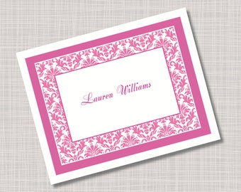 Custom Magenta Pink Damask Name Note Cards