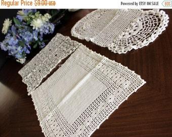 3 Assorted Crochet Doilies - Vintage Knit Doily, White Table Linens, Handmade Doilies 13606