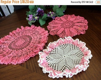 3 Assorted Crochet Doilies, Vintage Knit Doily, Whites and Pinks Lot 13695
