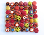 Kazuri Beads, 50 Kazuri Beads, Autumn Fall Coloured Ceramic Beads, Kazuri African Beads No. 41
