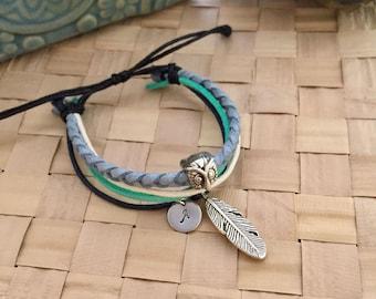 Owl Bracelet, Cord Bracelet, Feather Bracelet, Initial Bracelet, Hand Stamped Bracelet, Gift Ideas, Friendship Bracelet, Handmade Bracelet