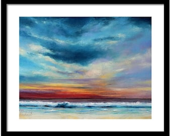 Beach Sunset - colorful pastel painting