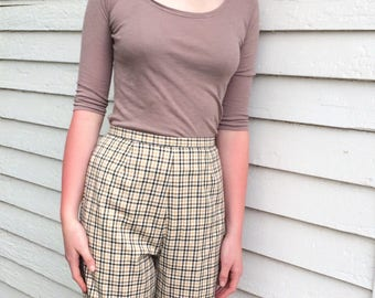 Catalina Plaid Shorts 50s 60s High Waist 26 Cotton S
