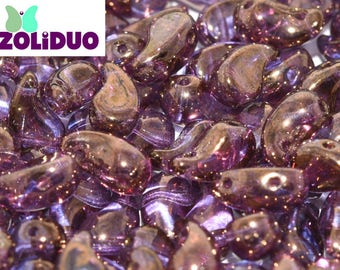ZOLIDUO® 2 hole paisley Beads, Amethyst Gold Luster, #04415, 30 pcs RIGHT version
