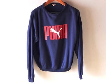 Men's 1970s 1980s PUMA Vintage West Germany Sweat Shirt Jumper Sweatshirt sz S to M Unisex - Navy Blue Cotton - Vintage Athletic Wear