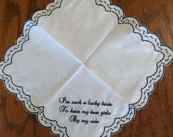 Lucky Bride Embroidered Lace Handkerchief