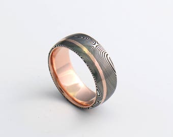 Genuine stainless Damascus Steel and Rose Gold Mens Ring PD81