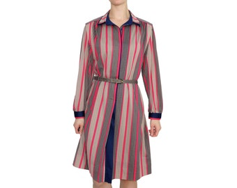 70s Magenta & Navy Striped Day Dress | L | Vintage 1970s Long Sleeve Belted Dress