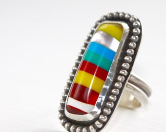 Rainbow Ring * Colorful Jewelry * Statement Ring * Big Rings * Silver Rings * Sterling Rings * Cocktail Ring * Rainbow Jewelry * Boho Ring