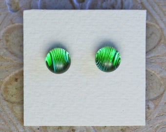 Dichroic Glass Earrings, Light Green DGE-976