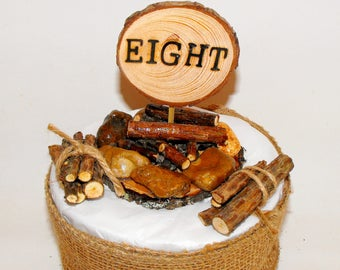 8th Birthday ~ Camping campfire  Cake Topper ~ Eighth Birthday ~ Unique real Wood log piles ~ Woodland Birthday Party ~ Lumberjack outdoors