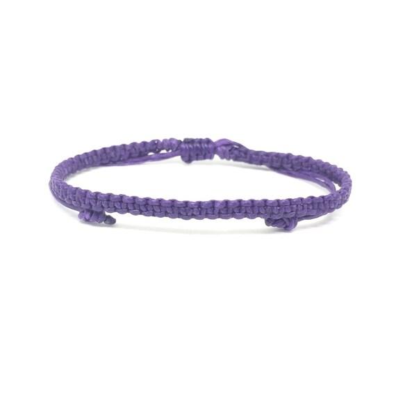 Classic Purple Friendship Cotton FAIR TRADE Buddhist Wristband Bracelet Handcrafted Wristwear