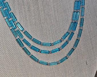 Aqua Quartz Cylinder Bead Necklace