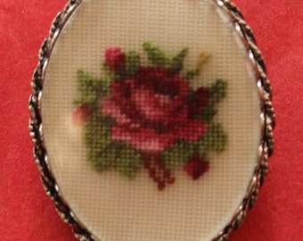 Oval Petit Point Rose Brooch