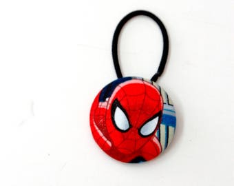Spiderman Fabric Covered Giant Button Ponytail Holder