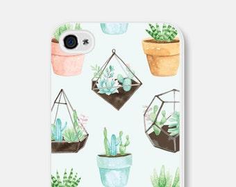 iPhone SE Case iPhone 7 Case Cactus iPhone 6 Case Phone Case Unique Hipster iPhone 6s Case Samsung Galaxy S7 Case Cactus Succulent Mint