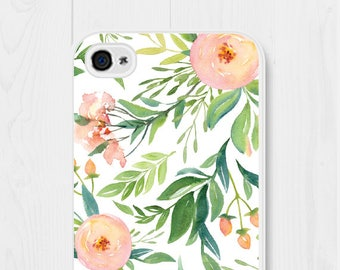 Floral iPhone Case Floral iPhone 6 Case Floral iPhone 7 Case Floral iPhone 8 Case Floral iPhone 6s Case Peach Samsung Galaxy S7 Case Pink