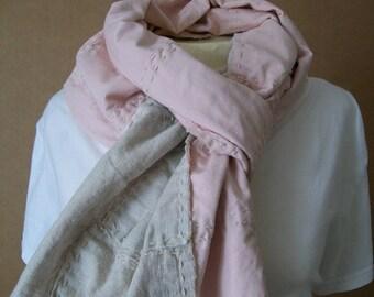 Natural Linen Patchwork Scarf, Pale Pink Back, Boro / Wabi-Sabi Inspired