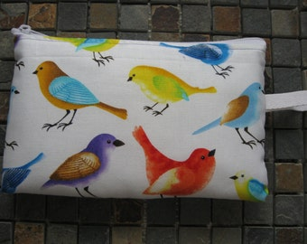 songbirds print large padded bag