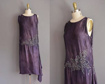 vintage 1920s dress. antique 20s soft silk rhinestone beaded vintage flapper dress