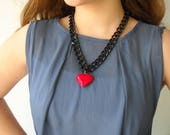 Red heart Pendant necklace, black chunky chain statement necklace, Valentine's day gift for her, romantic jewelry