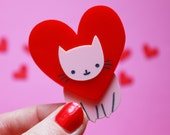 Love Cat Brooch. Valentines gift. Galentines gift. Best Friend Gift. Cat jewelry. Gift for her. Cat lover gifts. best cat lover gift