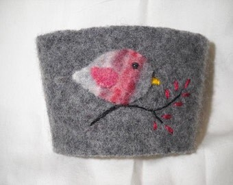 Pink Bird Felted Coffee Cozy