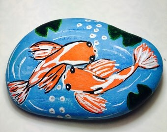 Hand Painted Koi pond rock - Painted stone - Fairy koi pond- Koi stone