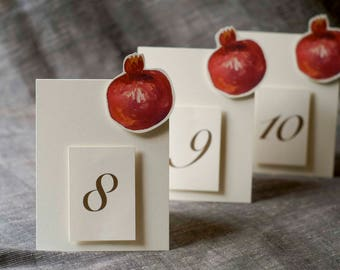 Pomegranate Fruit Table Number Tents - for Events, Weddings, Parties, Showers, Graduations.