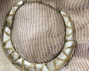 Egyptian Revival Necklace, Choker, 2-Tone Metal, Vintage 70s 80s Hippie Tribal Ethnic