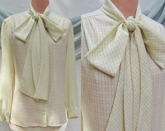 Vintage Secretary Blouse, Bow Front, High Neck,  Silky Polyester Top, Vintage 70s