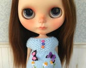 Blue Embroidery Top for Blythe Doll
