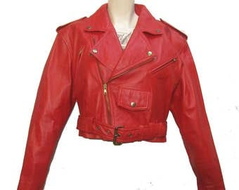 Red Leather Cropped Motorcycle Jacket Vintage 1980s Womens Wilsons The Leather Experts New  Wave Punk Bolero Biker Jacket Wms size Small