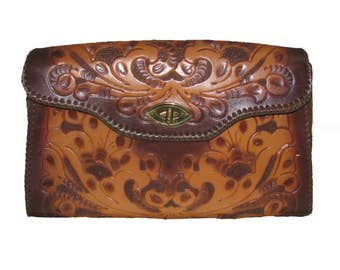 Vintage Joo-Kay Hand Tooled Leather Purse Womens Brown Leather Large Western Tooled Handbag with Adjustable Strap / Cowgirl Purse