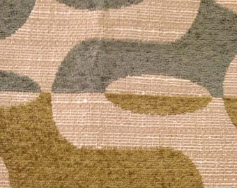 Contemporary Abstract Blue and Green Chenille Upholstery Fabric