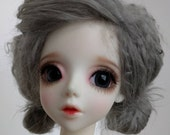 """Grey size 8-9"""" BJD wig Tibetan lambswool for SD ball jointed dolls"""