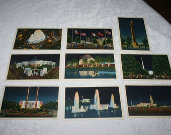 Nine 9 Vintage Postcards from 1939 New York Worlds Fair MINT Unused Condition Star Pylon, Heinz Dome, Lagoon of Nations, A T & T