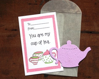 Teapot Valentines- SET OF 8 - includes color printed card, seed paper, and glassine envelope- choose from 16 seed paper colors