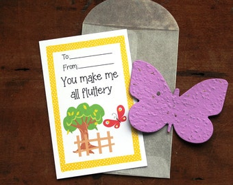 Butterfly Valentines- SET OF 8 - includes color printed card, seed paper, and glassine envelope- choose from 16 seed paper colors